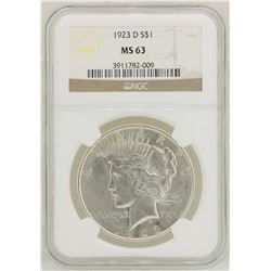 1923-D $1 Peace Silver Dollar Coin NGC MS63