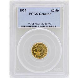 1927 $2 1/2 Indian Head Quarter Eagle Gold Coin PCGS Genuine