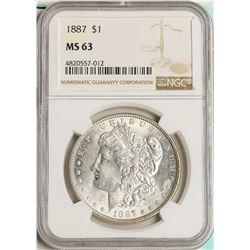 1887 $1 Morgan Silver Dollar Coin NGC MS63