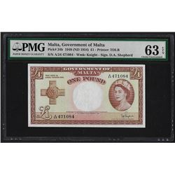 1949 Government of Malta 1 Pound Note Pick# 24b PMG Choice Uncirculated 63EPQ
