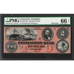 1850s-60s $2 Stonington Bank Connecticut Obsolete Note PMG Gem Uncirculated 66EP