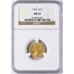 1926 $2 1/2 Indian Head Quarter Eagle Gold Coin NGC MS63