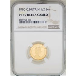 1980 Great Britain 1/2 Sovereign Gold Coin NGC PF69 Ultra Cameo