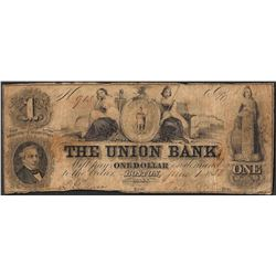 1858 $1 The Union Bank Boston, Massachusetts Obsolete Note