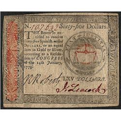 January 14, 1779 $65 Continental Currency Note
