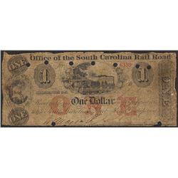 1800's $1 Office South Carolina Rail Road Obsolete Note
