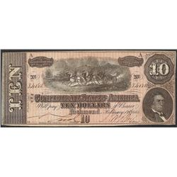 1864 $10 Confederate States of America Note with Advertising Stamp