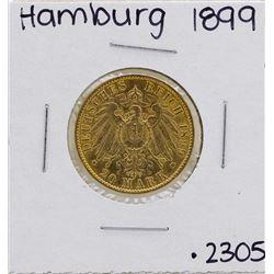 1899-J Hamburg 20 Mark Gold Coin