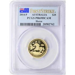 2014-P $25 Australia Year of the Horse Gold Coin PCGS PR69DCAM First Strike