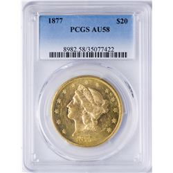 1877 $20 Liberty Head Double Eagle Gold Coin PCGS AU58