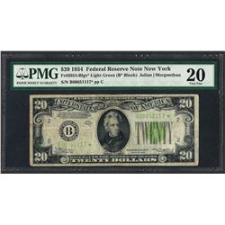 1934 $20 Federal Reserve STAR Note New York Light Green Seal PMG Very Fine 20