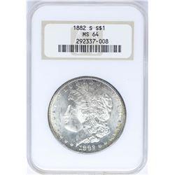 1882-S $1 Morgan Silver Dollar Coin NGC MS64 Nice Toning Old Holder