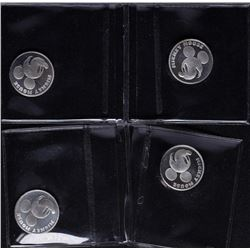 Lot of (4) Disney Mickey Mouse 1/20 oz. .999 Fine Silver Coin Rounds