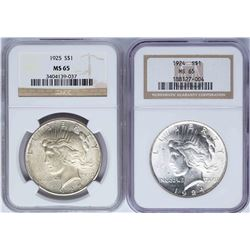 Lot of 1924-1925 $1 Peace Silver Dollar Coins NGC MS65