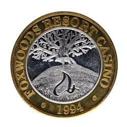 .999 Silver Foxwoods Resort Connecticut Casino $10 Limited Edition Gaming Token