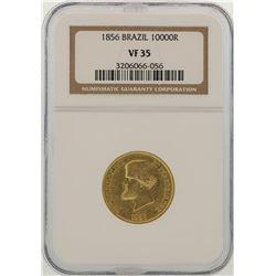 1856 Brazil 10000 Reis Gold Coin NGC VF35