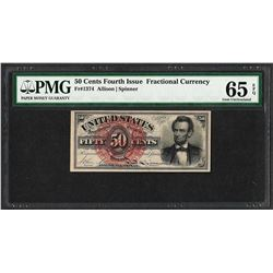 1863 Fourth Issue 50 Cents Fractional Currency Note PMG Gem Uncirculated 65EPQ