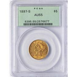 1897-S $5 Liberty Head Half Eagle Gold Coin PCGS AU55
