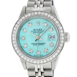Rolex Ladies Stainless Steel Ice Blue Diamond 26MM Datejust Watch
