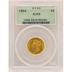 1854 $3 Indian Princess Head Gold Coin PCGS AU55