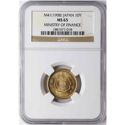1908 M41 Japan 10 Yen Ministry of Finance Gold Coin NGC MS65