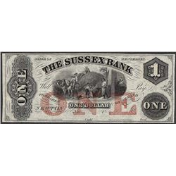 1800's $1 Sussex Bank New Jersey Obsolete Note