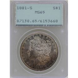 1881-S $1 Morgan Silver Dollar Coin PCGS MS65 Green Rattler Great Toning