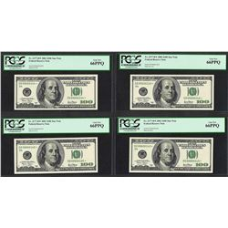 Lot of (4) Consecutive 2001 $100 Federal Reserve STAR Notes PCGS Gem New 66PPQ