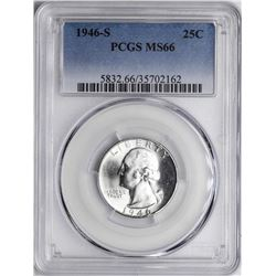 1946-S Washington Silver Quarter Coin PCGS MS66