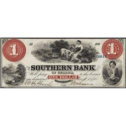 1858 $1 Southern Bank Bainbridge, GA Obsolete Note