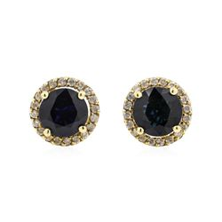 14KT Yellow Gold 2.38 ctw Sapphire and Diamond Earrings
