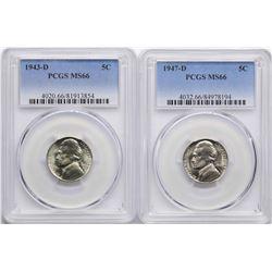 Lot of 1943-D & 1947-D Jefferson Nickel Coins PCGS MS66