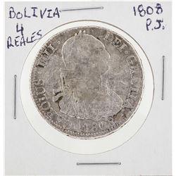 1808 PJ Bolivia 4 Reales Coin