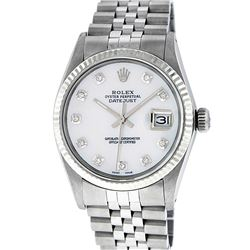 Rolex Men's Stainless Mother Of Pearl Diamond 36MM Datejust Wristwatch