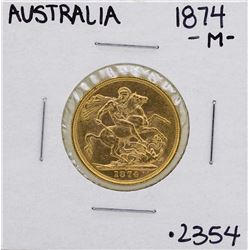 1874-M Australia Melbourne Queen Victoria Sovereign Gold Coin
