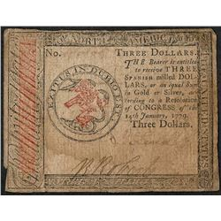 November 29, 1775 $3 Continental Currency Note