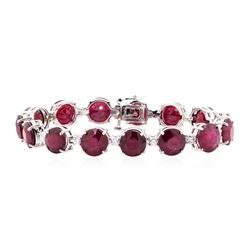 14KT White Gold 63.13 ctw Ruby and Diamond Bracelet