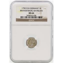 1750 Germany Bradenburg-Bayreuth 1 Kreutzer Coin NGC MS64