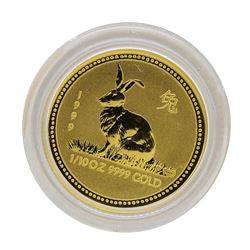 1999 $15 Australia Lunar Year of the Rabbit 1/10 oz. Gold Coin