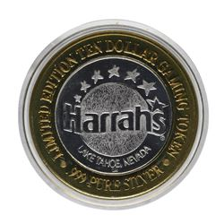 .999 Silver Harrahs Casino Reno Nevada $10 Casino Limited Edition Gaming Token