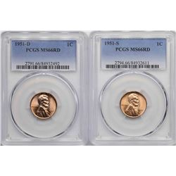 Lot of 1951-D & 1951-S Lincoln Wheat Cent Coins PCGS MS66RD