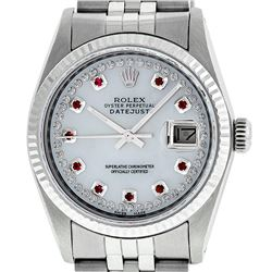 Rolex Men's Stainless Steel Mother Of Pearl Diamond & Ruby Datejust Wristwatch