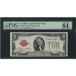 1928D $2 Legal Tender Note Fr.1505 PMG Choice Uncirculated 64EPQ