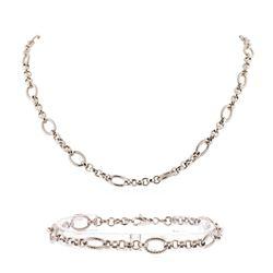 14K White Gold Necklace and Bracelet Set