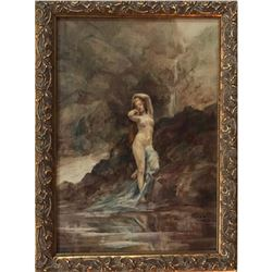 Forest Nymph, mid 1800's framed oil painting of a nude nymph in the forest. Alegorical
