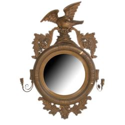 19thc Regency-Style Gilt Wood Convex Eagle Mirror