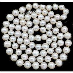 8-9mm Natural White Akoya Cultured Pearl Necklace 22""