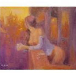 Fabulous Russian painting by Ukraine Artist (Signed). This impressionist work, a self portrait is de