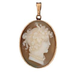 14kt Gold Carved Shell Cameo Brooch Pendant