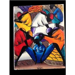 Haitian Farmers Market. Signed Original Painting, Colorful, Exciting and superbly done.